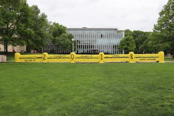 The Carnegie Mellon fence painted to congratulate the Class of 2018 for graduating!